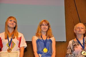 Olga Fedorovich Belarus – Gold Medal/ Nina Hoekman Netherlands – Silver Medal (right)/ Natalia Sadowska Poland- Bronze medal (left)